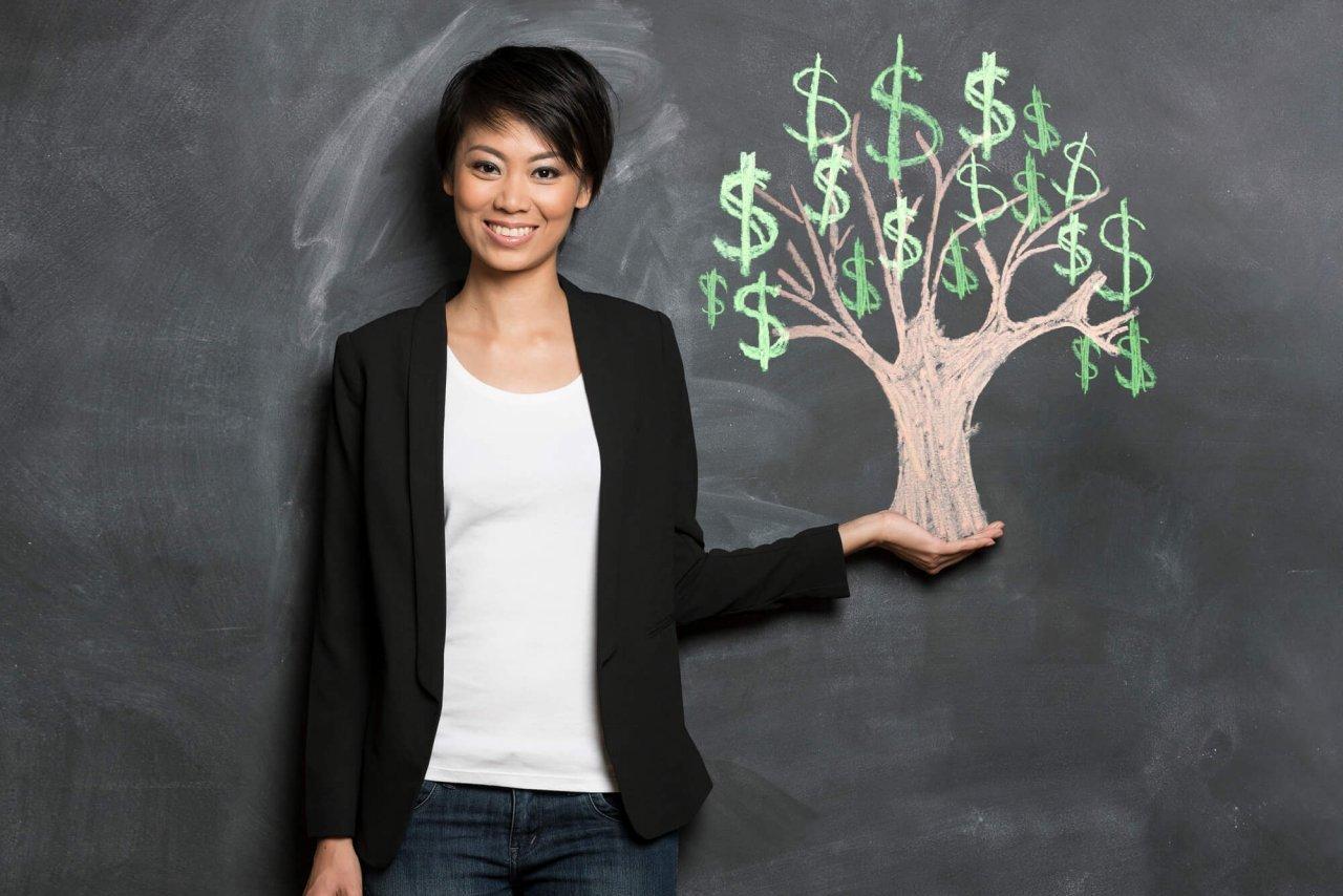 woman with chalk-drawn money tree